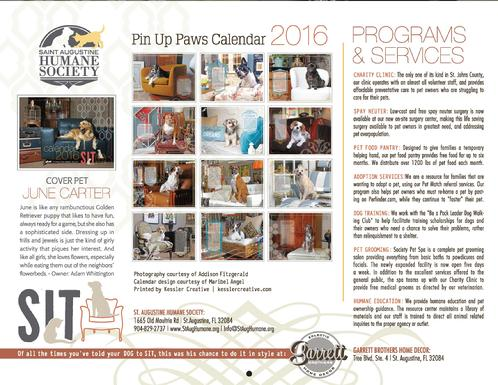 Pin Up Paws 2016 calendar
